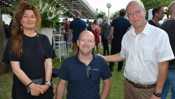 TAU President Prof. Ariel Porat, SpaceIL Co-Founder Yariv Bash and Head of TAU Alumni Organization Sigalit Ben Hayoun